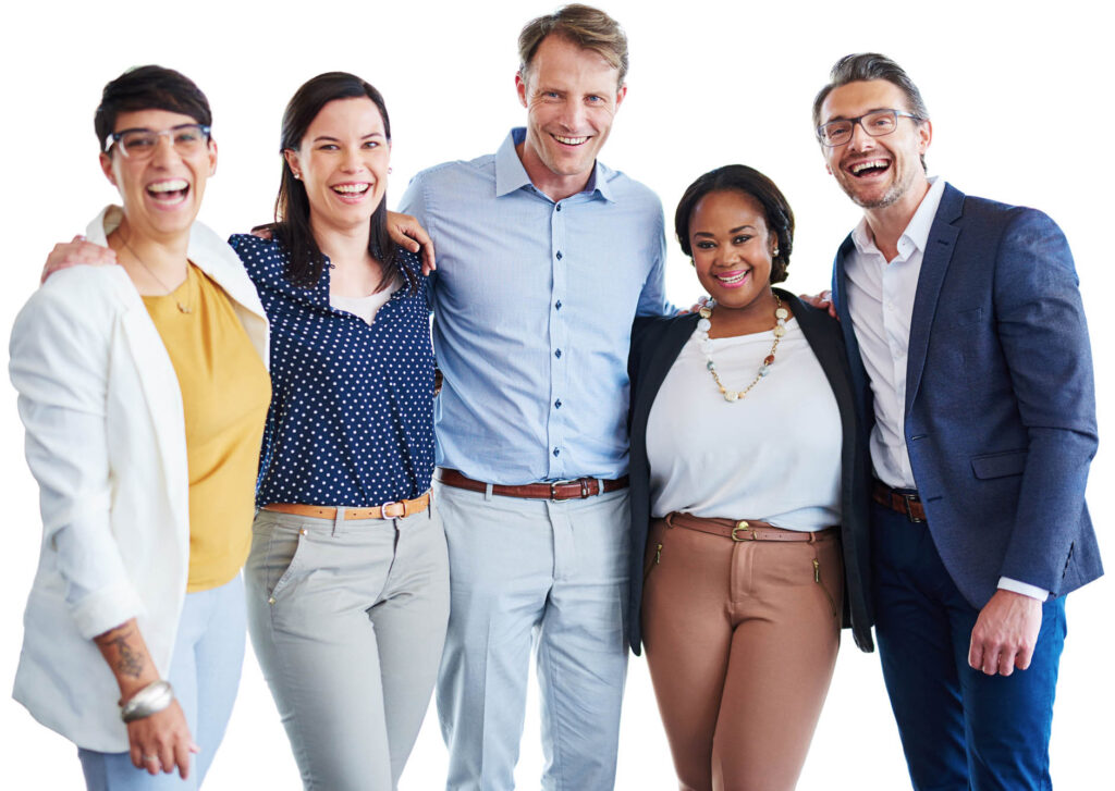Studio portrait of a team of colleagues standing together in unity against a white background